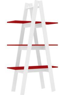 Estante Decorativa Escada Menor Rt 3047 Branco/Vermelho - Móvel Bento