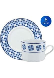 Conjunto 6 Xícaras De Chá Com Pires Athena - Schmidt - Branco / Azul