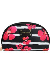 Nécessaire Meia Lua Com Estampa Floral- Preta & Rosajacki Design