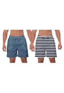 Kit 2 Shorts Moda Praia Listras Preta Branco Azul Petróleo Caminhada Esporte Surf Vôlei Banho Poliéster Elastano W2