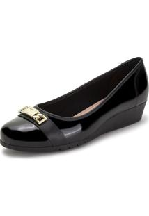 Sapato Feminino Anabela Moleca - 5156764 Verniz/Preto 01 37