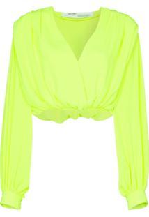 Off-White Blusa Cropped Transpassada - Amarelo