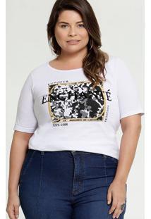 Blusa Feminina Estampa Camuflada Plus Size