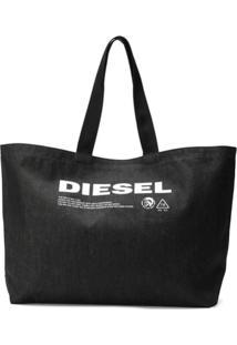 Diesel Denim Shopping Bag With Print - Preto