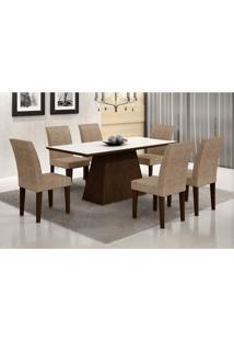 Conjunto De Mesa De Jantar Luna Com Vidro E 6 Cadeiras Grécia Castor Branco Com Suedi Am. Chocolate