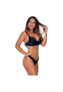 Conjunto Sem Bojo Vip Lingerie Aro Meia Taça Azul