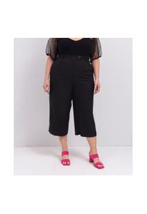 Calça Pantacourt Lisa Em Crepe Curve & Plus Size | Ashua Curve E Plus Size | Preto | G