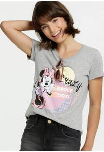 Blusa Feminina Estampa Minnie Manga Curta Disney
