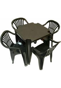 Conjunto Mesa E 4 Cadeiras Poltrona Plastico Preto