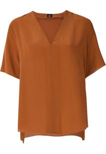 Osklen Blusa Decote Em V De Seda - Marrom