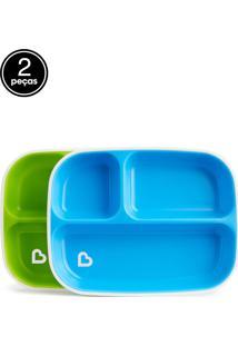 Conjunto De Pratos C/ Divisórias Azul E Verde (Emb. C/ 2 Unid.)