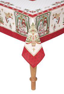 Toalha De Mesa Karsten Presépio De Natal 140X210Cm Off-White/Vermelha