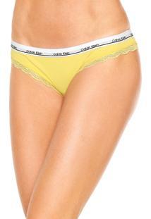 Calcinha Calvin Klein Underwear Tanga Cós Amarela