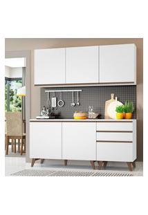 Armário De Cozinha Compacta Madesa Reims Com Balcáo 5 Portas 3 Gavetas - Branco Branco