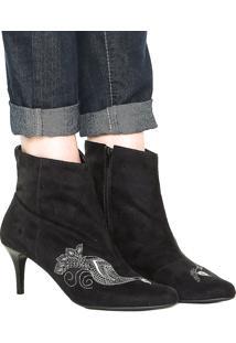 Bota Dafiti Shoes Bordado Preta