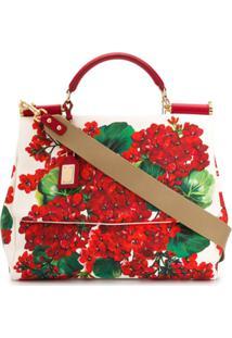 Dolce & Gabbana Bolsa De Algodão E Couro - Vermelho
