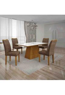 Conjunto De Mesa Com 4 Cadeiras Pampulha I Imbuia Mel E Marrom