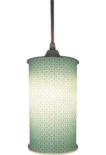 Luminária Pendente Cilíndrica Crie Casa Arabesco Verde