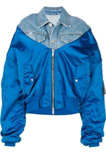 Unravel Project Jaqueta Bomber Jeans Oversized - Azul