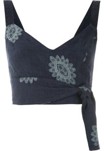 Martha Medeiros Top Cropped Karen Greta Bordado - Azul