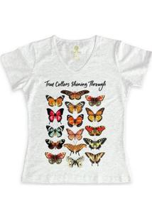 Camiseta Feminina Gola V Cool Tees Borboletas True Collors - Feminino-Mescla Claro