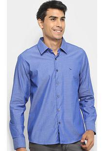 Camisa Yachtmaster Manga Longa Slim Mini Print Masculina - Masculino-Azul