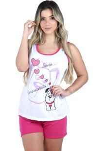 Pijama Curto Regata Bravaa Modas Baby Doll Short Blusinha 127 Rosa