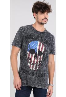 Camiseta Masculina Com Estampada De Caveira Manga Curta Decote Careca Preta