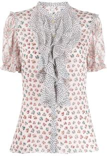 Liberty London Blusa Vita Com Babados E Mix De Estampas - Rosa