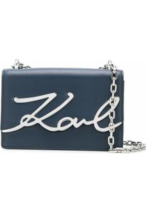 Karl Lagerfeld Bolsa Tiracolo K/Signature Pequena - Azul