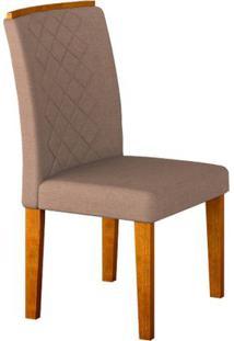 Cadeira Jade 2 Peças - Imbuia Com Tecido Linho Rústico