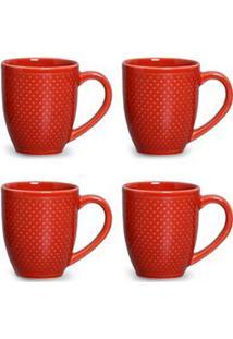 Conjunto De Canecas Pois Em Cerâmica 340 Ml Com 04 Peças Vermelho - Porto Brasil