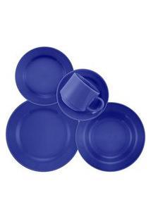 Aparelho De Jantar E Chá 20 Peças Donna Azul Azul