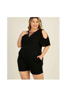 Macaquinho Plus Size Feminino Open Shoulder
