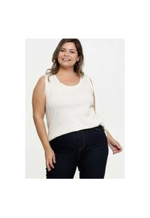 Blusa Feminina Brilho Plus Size Sem Manga