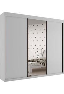 Guarda Roupa Creta 3 Portas Com Espelho Branco