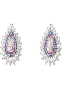 Brinco Manoo Manoo Rodinado Prata Gota Cristal Azul/Rosa - Kanui