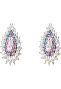 Brinco Manoo Manoo Rodinado Prata Gota Cristal Azul/Rosa