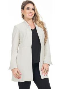 Blazer Maxi Clara Arruda Alfaiataria Feminina - Feminino-Gelo