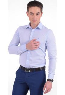 Camisa Social Masculina -Slim - Masculino-Azul