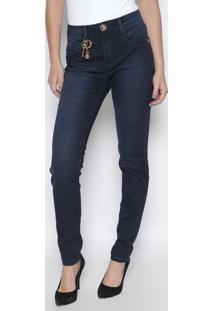 Jeans High Skinny Com Aviamentos- Azul Escuro- Lançalança Perfume