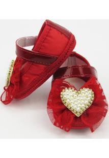 Sapato Danda Nenê Com Laço De Renda E Pérolas - Feminino-Vermelho