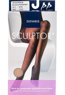 Meia Calça Anticelulite Sigvaris Sculptor 15-20Mmhg Tamanho P Longo (P2) Ponteira Fechada Cor Natural