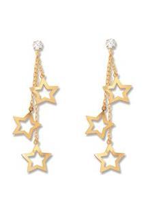 Brinco Le Diamond Zircônia E Estrelas Dourado