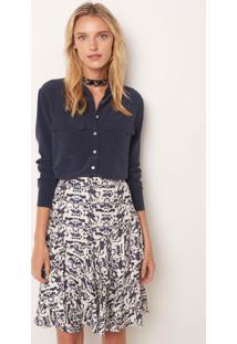 Camisa Le Lis Blanc Lucia Midnight Seda Azul Feminina (Midnight, 46)
