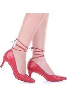Scarpin Salto Alto Di Valentini Napa Amarração Feminino - Feminino-Vermelho
