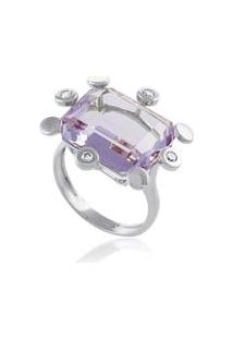 Anel Pic Color Ob Com Diamante Branco E Ametista - 17