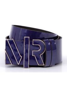 Cinto Cintura/Quadril Regular Metal Letreiro Encapado Azul
