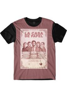 Camiseta Insane 10 La Casa De Papel Nota Sublimada Rosa