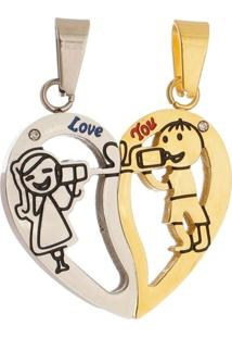 Pingente Coração Tudo Jóias Love You De Aço Inox Gold